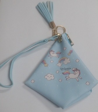 Triangular Purse Blue Unicorn