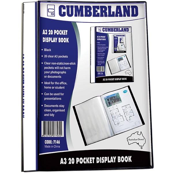 Cumberland Display Book Non Refillable A3 20 Pocket Black (Min Order Qty: 1)