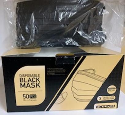 Non Surgical Face Masks Box of 50 BLACK (Min Order Qty 1)