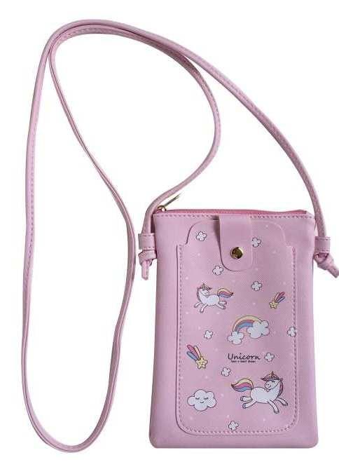 Bag 18X14 cm with Strap Pink Unicorn