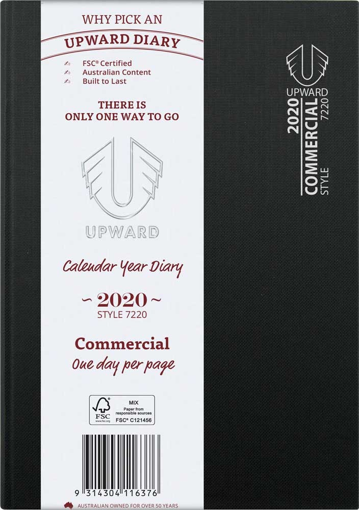 UPWARD 2020 A5 DAY TO PAGE COMMERCIAL DIARY (BLACK) (Available August)