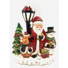Ceramic Santa with Lamp post with LED and Music 30cm (Min Order Qty 1)