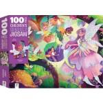100 Piece Children's Sparkly Jigsaw Puzzle Fairy Garden (Min Order Qty 2)