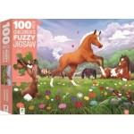 100 Piece Children's Fuzzy Jigsaw Puzzle Horsing Around (Min Order Qty 2)