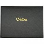 VISITOR BOOK PU BLACK w/ GOLD FOIL 265 x 195mm