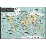 Childrens World Map Illustrated & Laminated (Min Order Qty 3)
