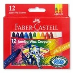Jumbo Wax Crayon Assorted Pack 12 (Min Order Qty 2)