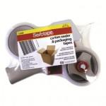 Sellotape Carton Sealer Tape Gun and Packaging Tape (48mmx50m) (Clear)
