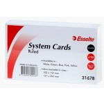 Esselte System Cards 127x76mm (5x3) White Pack of 100 (Min Order Qty 2)