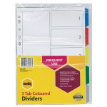Marbig Dividers 5 Tab PP A4 Multi Colours  (Min Order Qty 2)