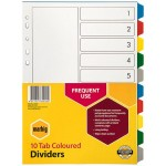 Marbig Dividers 10 Tab PP A4 Multi Coloured (Min Order Qty 2)