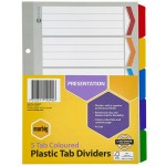 Marbig Dividers 5 Tab Manilla Reinforced A5 Multi Colours (Min Order Qty 1)