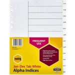 Marbig Alpha Indices Dividers Jan-Dec Tab PP A4 White (Min Order Qty 2)