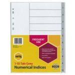 Marbig Dividers 1-10 Tab PP A4 Grey  (Min Order Qty 2)