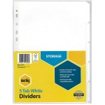 Marbig Dividers 5 Tab Manilla A4 White (Min Order Qty 2)
