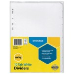 Marbig Dividers 10 Tab A4 Manilla White  (Min Order Qty 2)