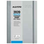 """MILFORD ALUMINIUM A5 WEEK TO VIEW SILVER 2020 DIARY """"Available August 2019"""""""