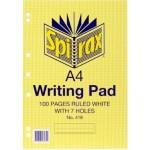 Spirax 418 Writing Pad A4 100 Page (Min Order Qty 5)