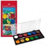 Faber-Castell School Watercolour Paint Pan Pack of 12 + 1 Brush (Min Order Qty 2)