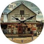 Glass Clock 17cm Round Feed Store (Min Order Qty 1)