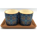 Stella Pot Set of 2 on Tray 23x11cm (Min Order Qty: Multiples of 2)