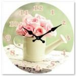Glass Clock 17cm Round Floral (Min Order Qty 1)