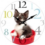 Glass Clock 17cm Round Kitten (Min Order Qty 1)