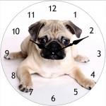 Glass Clock 17cm Round Pug  (Min Order Qty 1)