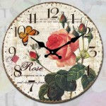 Glass Clock 17cm Round Roses & Butterfly (Min Order Qty 1)