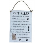 Cat Rules Wooden Plaque (Min Order Qty 1)