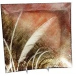 Hand Painted Glass Plate Feather 31x31cm (Min Order Qty 2)
