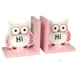 Owl Book Ends Pink and White Set of 2 (Min Order Qty 3)