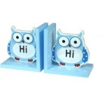 Owl Book Ends Blue and White Set of 2 (Min Order Qty 3)