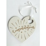 Congratulations Wooden Heart Plaque (Min Order Qty 2)