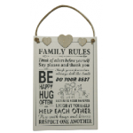 Family Rules Plaque #1(Min Order Qty 1)