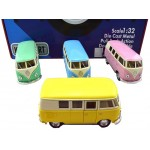 Die Cast 1962 VW Classic Bus  Display of 12 Pastel Assorted (Min Order Qty 1 Display)