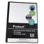 Protext A3 Black 20 Pocket Fixed Display Book (Min Order Qty 1)