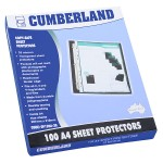 Cumberland Sheet Protectors 35 Micron A4 Clear Pack of 100 (Min Qty: 2)