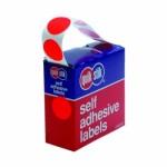 QUIKSTIK CIRCLE LABEL DISPENSER 24mm RED 500 LABELS (Min Order Qty 1)