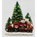 Ceramic Santa and Train LED 26cm (Min Order Qty 1)